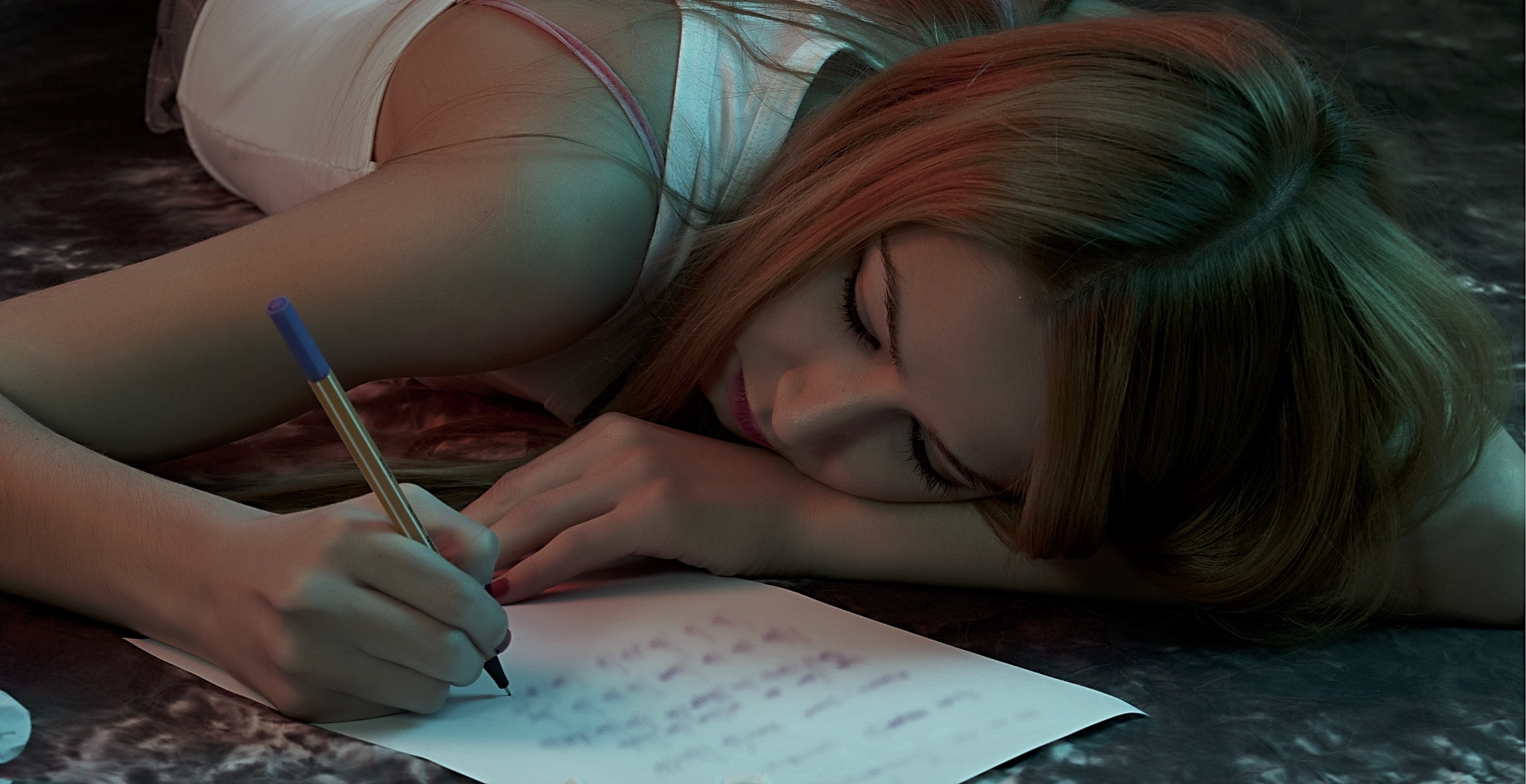 young woman writing message