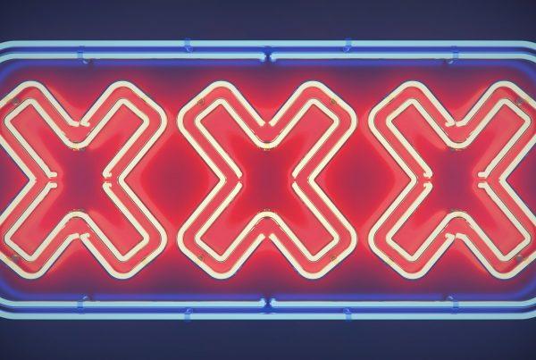 3d Illustration. XXX neon sign.