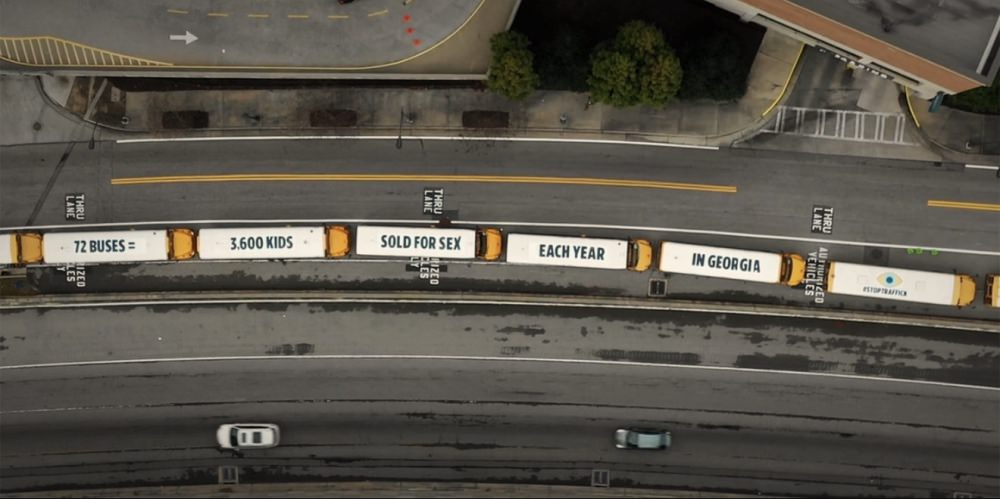 72 School Buses in Atlanta Became a Mile-Long Mobile Child Trafficking Awareness Campaign